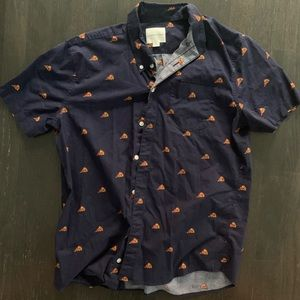 American Eagle Pizza Short Sleeve Button Up